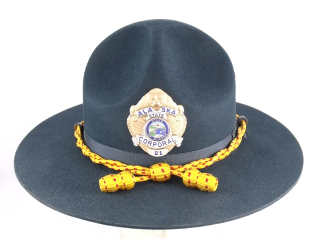 Alaska State Troopers patrol hat, blue felt campaign hat with yellow and red cords and acorns