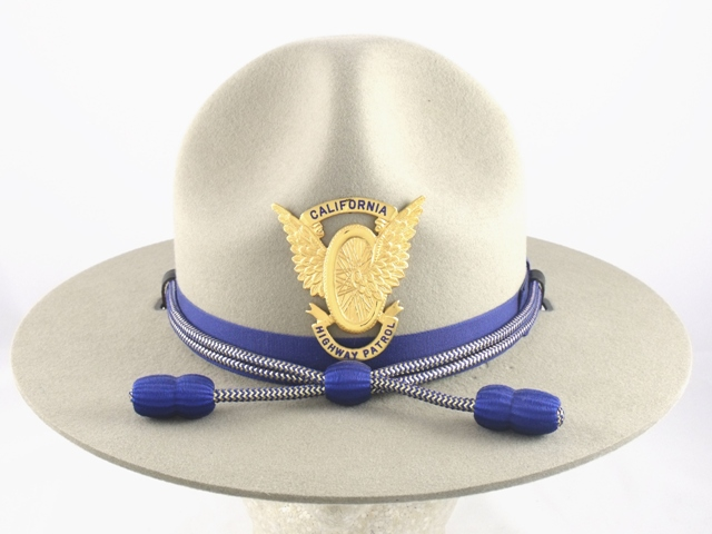 California Highway Patrol patrol hat, tan felt campaign hat with blue and gold cords with blue acorns worn by Lieutenants and Captains