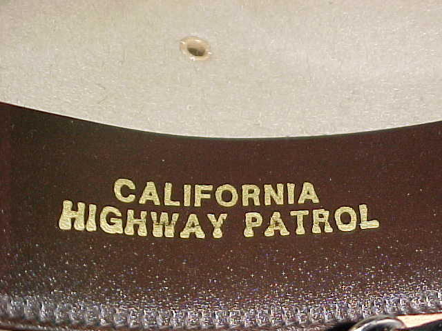 California Highway Patrol embossed on inside of patrol hat