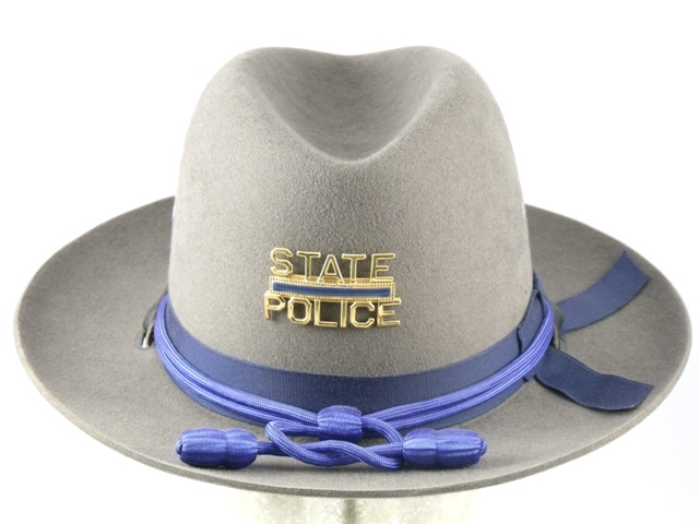 Connecticut State Police patrol hat, grey felt sheriff style hat with blue cords and acorns