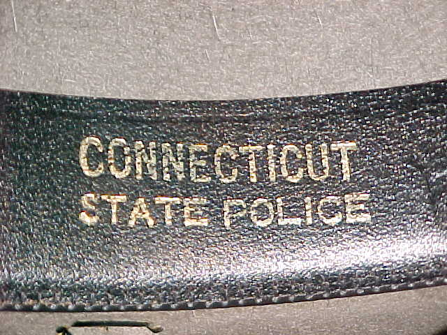 Connecticut State Police with agency name on inside of hat