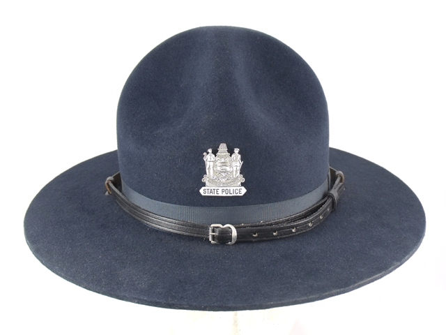 Delaware State Police blue felt campaign hat with black leather straps