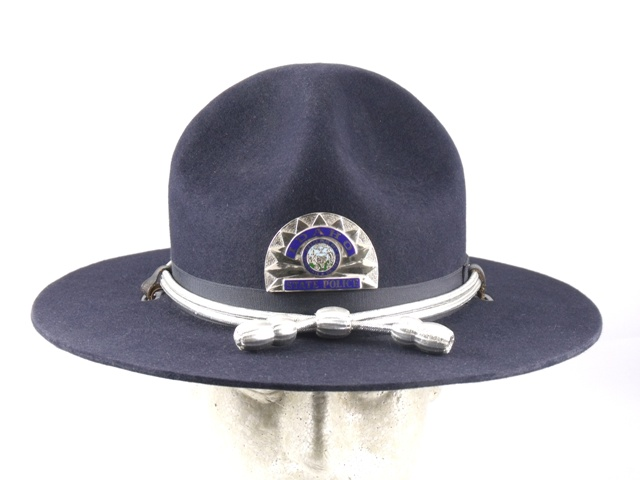 Indiana State Police blue felt troopers winter campaign hat with silver and blue cords and silver acorns