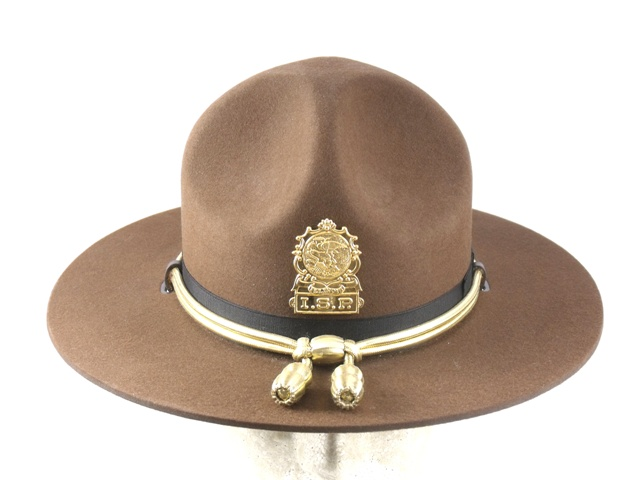 Illinois State Police brown felt supervisors winter campaign hat with gold cords and acorns