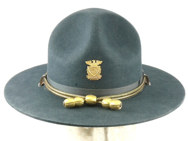 Indiana State Police blue felt supervisors winter campaign hat with gold and black cords and gold acorns