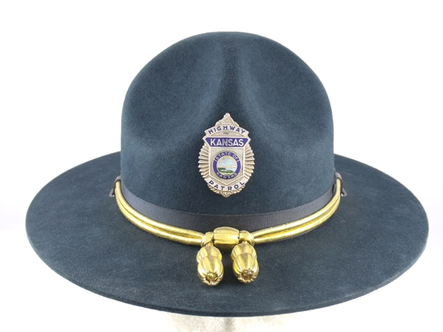 Kansas Highway Patrol hat blue felt winter campaign hat with gold cords and  acorns e9f102a30ec