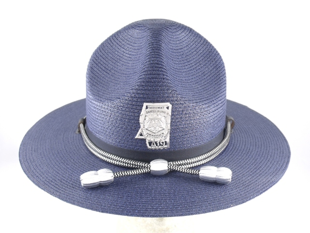 Mississippi Highway Patrol blue straw summer campaign hat with silver and black cords and silver acorns