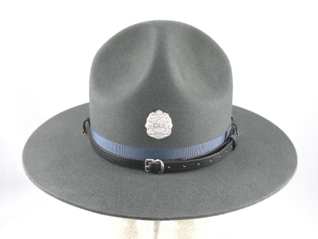Missouri Highway Patrol french navy blue felt winter campaign hat with leather straps