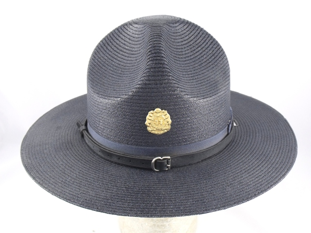 Missouri Highway Patrol navy blue straw summer campaign hat with leather straps