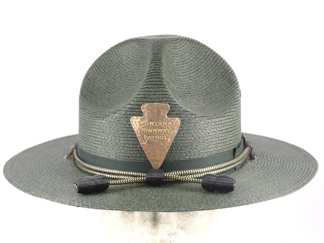 Montana Highway Patrol patrol hat, forest green double brim straw campaign hat with black and gold hat cords