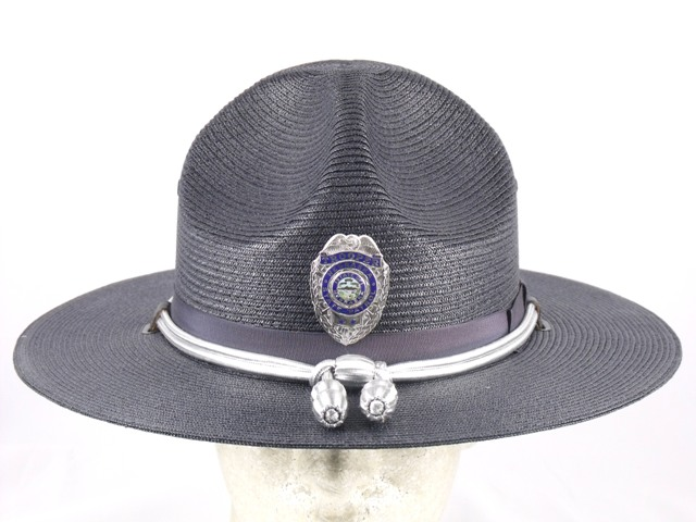 Nebraska State Patrol navy blue trooper straw summer campaign hat with silver cords and acorns