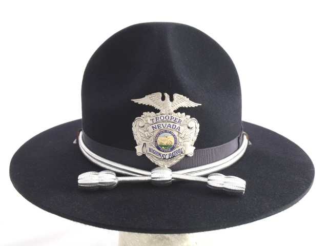 Nevada Highway Patrol navy blue felt winter campaign hat with silver cords and acorns