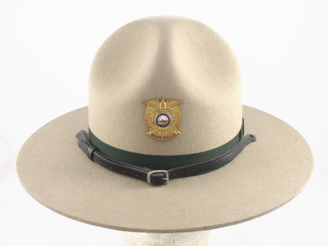 New Hampshire State Police tan felt winter campaign hat with leather straps