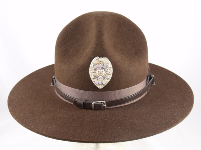 North Dakota Highway Patrol brown felt campaign hat with brown leather straps