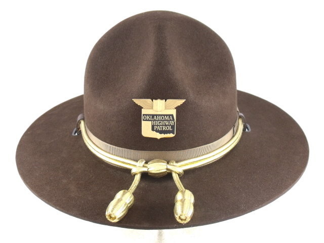Oklahoma Highway Patrol brown felt winter campaign hat with gold cords and acorns