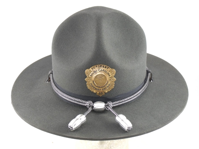 South Carolina Highway Patrol graphite grey felt campaign hat with silver and black cords and silver acorns