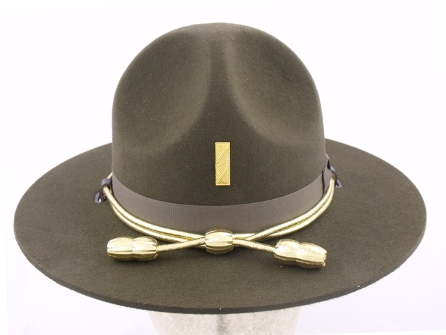 Tennessee Highway Patrol supervisor (Lieutenant) conservation green felt winter campaign hat with gold cords and acorns
