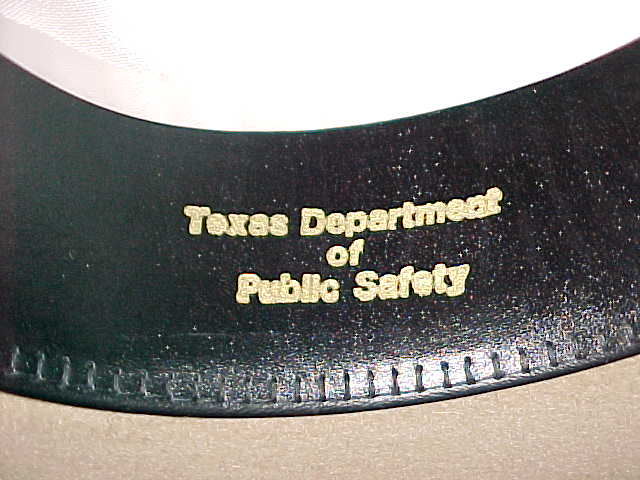 Texas DPS Highway Patrol embossed inside hat