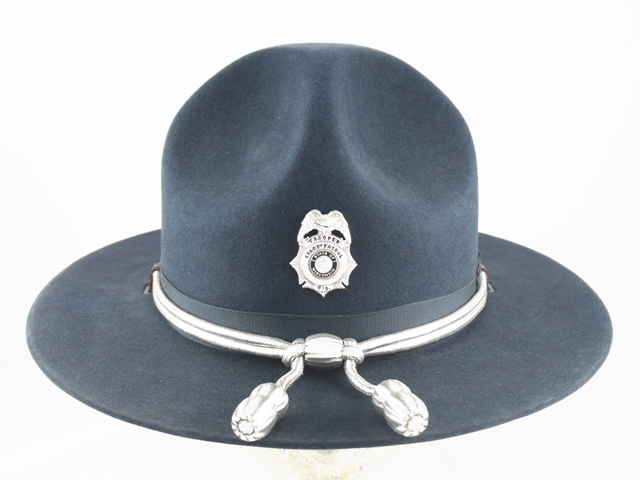Wisconsin State Patrol navy blue winter campaign hat with silver cords and acorns